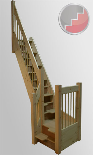 spacesaver staircase with a quarter turn landing
